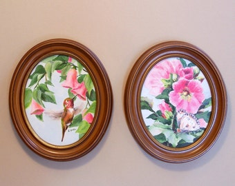 Original Acrylic Painting - Set of Two Floral Paintings with Butterfly and Hummingbird - Oval Frames - Pink Hollyhocks - Gift for Her