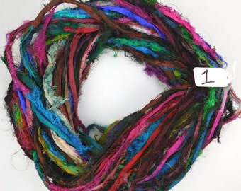 Sari Silk Ribbon, Recycled Silk Sari Ribbon, multi color Fuzzy ribbon, multicolor ribbon, washed ribbon, weaving supply, knitting supply