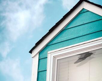 Bird Reflection Photograph, Print or Canvas, Flying Crow, Black Bird, Animal Art, Blue Sky, Teal Beach House, Window -  Summer Reflections