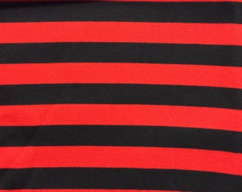 Black and red yard dyed stripevon 100% cotton interlock knit fabric 1 YD