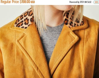 ON SALE Vintage Suede Coat with Leopard Collar