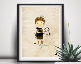 Sagittarius Print, Baby Boy Birthday Gift, For Him, Zodiac Sign, Illustration, Wall Art