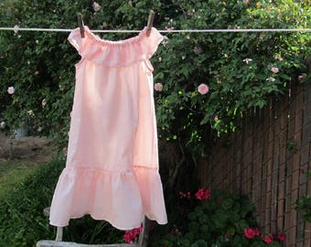 Sweet Summer Nightgown Girls Sleeveless Pink Cotton Ruffles Custom made