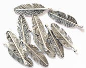 20 pcs of antique silver finished feather charm 30x9mm, alloy feather charm, bulk antique silver feather pendant