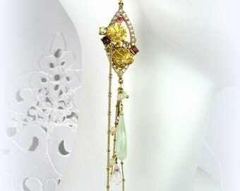 Lavender & Mint Rhinestone Flower dangle earring with mint chalcedony and rose quartz drops, gold chain, vintage lily pad parts