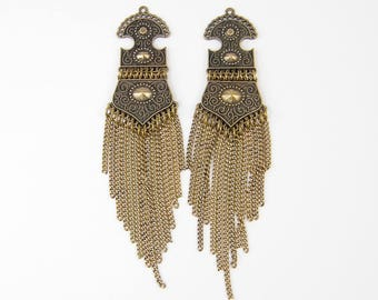 Antique Gold Earring Findings Long Chain Tassel Pendant Jewelry Component  LG5-3 2