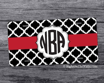 Lattice Monogram License Plate, Personalized Car Tag, Patterned Front Car Plate, Monogrammed Car Accessories, Vanity Plate