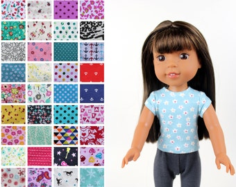 Fits like Wellie Wishers Doll Clothes - The Trendy Tee, You Choose Print
