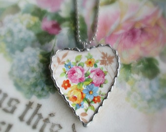 Vintage Recycled Broken China Sweet Heart Pink & Yellow Roses -Necklace- Made from a Crazed Bowl