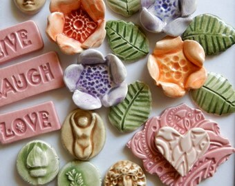 lovely set of handmade ceramic tile embellishments
