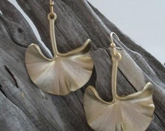 18K Gold-Plated Gold Ginkgo Earrings