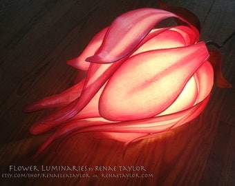 Large Pink Lily inspired Paper Flower Luminaire (Lamp) By Renae Taylor