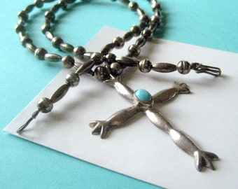 Navajo Sterling and Turquoise Sandcast Cross and Bench Bead Necklace