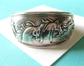 Wide Kabana Sterling Silver Galloping Horse Cuff