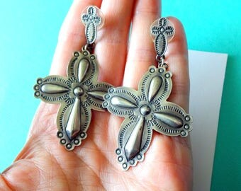 Navajo Sterling Silver Repousse Cross Dangle Earrings