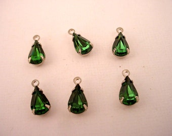 Vintage glass emerald green machine cut  pear silver tone setting 10x6 - 6 Pieces 1 ring charm