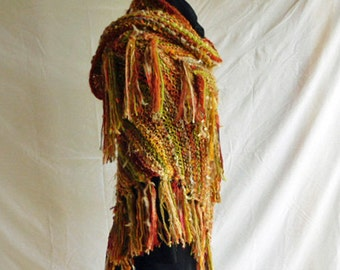 One of A Kind Handknit Shawl in Shades of Autumn Gold