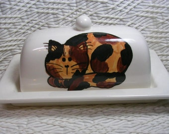 Tortie Cat On Ceramic Butter Dish Handpainted Original by Grace M Smith