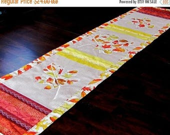 on sale thanksgiving table runner, red orange yellow table topper for fall decor, maple leaf decor for autumn
