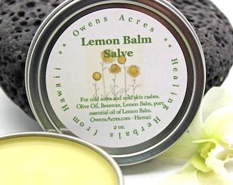 Lemon Balm Salve - Lips, Lip Balm, Blister, Insect Bites, Rash, Herbal Salve, Skin Salve, Antiseptic, Handmade Salve