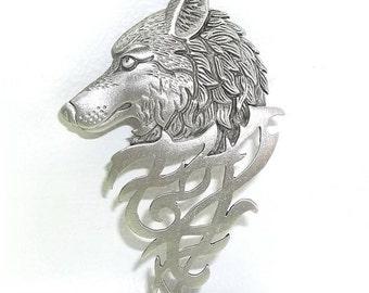 Tribal Wolf Head pin brooch JJ Jonette Jewelry  NOS