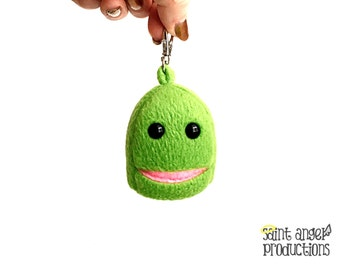 Small Green Monster with Super Tiny Pocket Mouth, Mini Backpack, Zipper Pull, Key Chain Plushie, READY TO SHIP