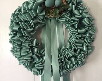 Wreath Robin's Egg Blue Ribbon Wreath Nest Home 12 inch