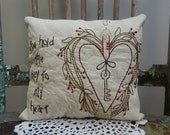 Decorative Spring Pillow, Heart, Key to My Heart, Love