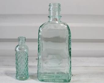 Light Green Vintage bottles, flower vases, Lot of two