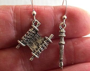 Torah Yad mismatched earrings Jewish Bible Torah pointer great for Shabbat and every day -- great gift for her