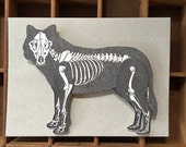 letterpress wolf skeleton paper toy