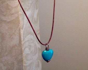 Turquoise Heart and Leather Adjustable Necklace Minimalist Jewelry