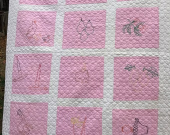 Vintage Machine Stitched and Quilted Pink and White Quilt with Hand Embroidery Blocks