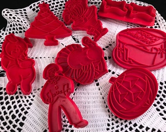 Set of 8 Vintage Red Plastic Cookie Cutters Holiday and More