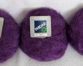 Lot 3 Skeins Vintage PhilDar Mohair Wool Blend Yarn Purple