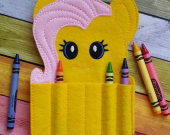 Yellow Pony Felt Crayon Holder * Crayon Holder * Coloring * Party Favor * Pony Crayon Holder