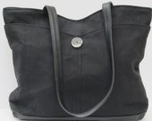 LARGE WAXED DENIM Tote Bag Black on Black