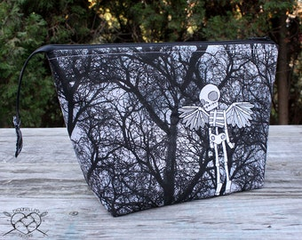 Project Bag Knitting Crochet Supply Bag Winged Skeleton Angel