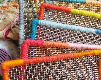 Small Mesh Earring Holder with Antique Wire & Colorful Border Boho Jewelry Holder Earring Display Pin Display
