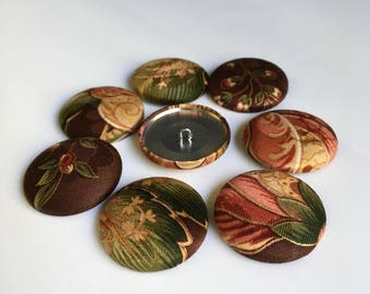 8 Fabric Buttons - Floral - Paisley - 1.5 inches - Shades of Brown, Tan, Rust, Gold, Pink, Rose, Green
