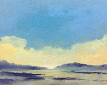 SOFT DAWN, landscape, oil painting, original 100% charity donation, 5x7 oil painting on paper, yellow