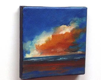 CUTIE 171, oil painting, landscape painting, original painting, 100% charity donation, stretched canvas, clouds