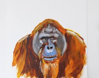 Orange the Orangutan, Orangutan Painting, Monkey Painting, Monkey Art, Monkey Portrait, Mini Painting