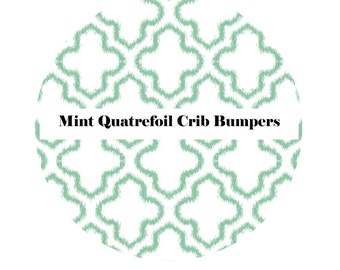Crib Bumpers in MINT QUATREFOIL-Crib Bedding-Arrow Crib Bedding-Baby Bedding-Black-BoyCrib Bedding