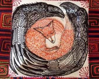Fox and Raven Platter Handpainted Original Ceramic from Taos NM
