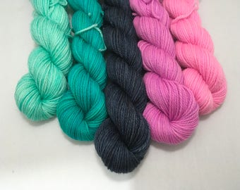 Sunrises - Spring Blooms - Ready to Ship - Hand Dyed - Merino Wool Yarn - Fingering Weight - Mini Skeins