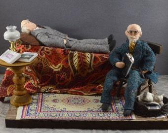Sigmund Freud, Carl Jung, Diorama Scene, Psychology Art, Gift for Psychologist, Unique Handmade, Psychiatrist Gift