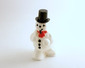Vintage Christmas Decoration Snowman Figurine Candy Container