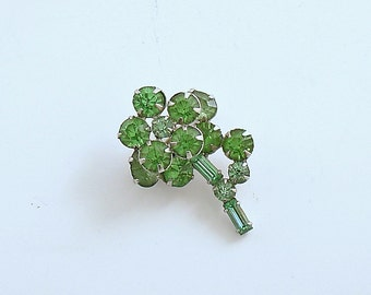 Vintage Flower Brooch Green Rhinestone Pin