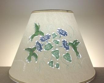 Large Lampshade-Hummingbirds-Hand Painted-Cut and Pierced-Paper Lampshade-Birds-Bird Lampshade-Reverse Painted Lampshade-Pierced Lamp Shade